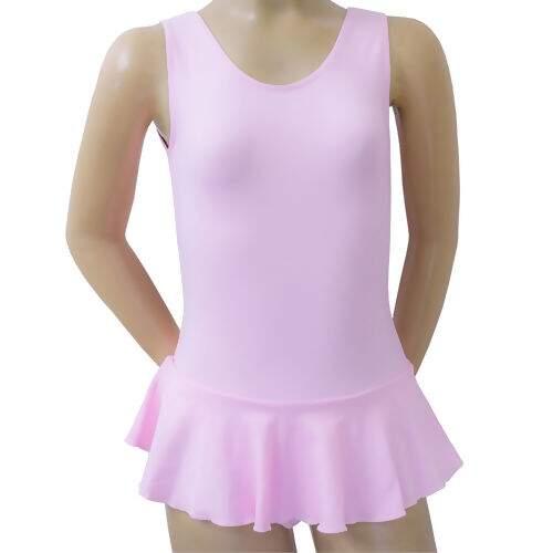 97c5a259ca Collant de Ballet Decote Redondo com Saia Infantil - Rosa