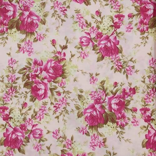c9e0b51c3 Tecido Estampado 100% Algodão 0,50 x1,50 mt - Floral G Rosa/Verde