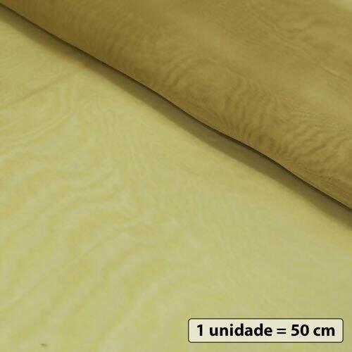 8363a9cec0 Tecido de Organza Cristal 50 cm x 1,50 mt - Dourado